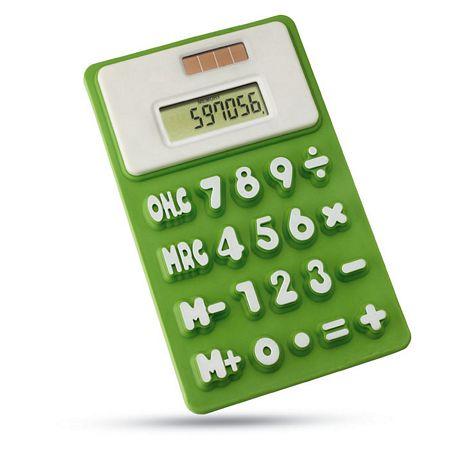 Napelemes szilikon számológép, neon zöld